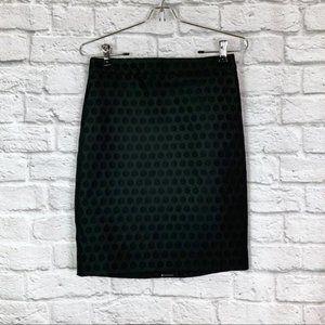 J. Crew The Pencil Skirt 00 Black Polka Dot